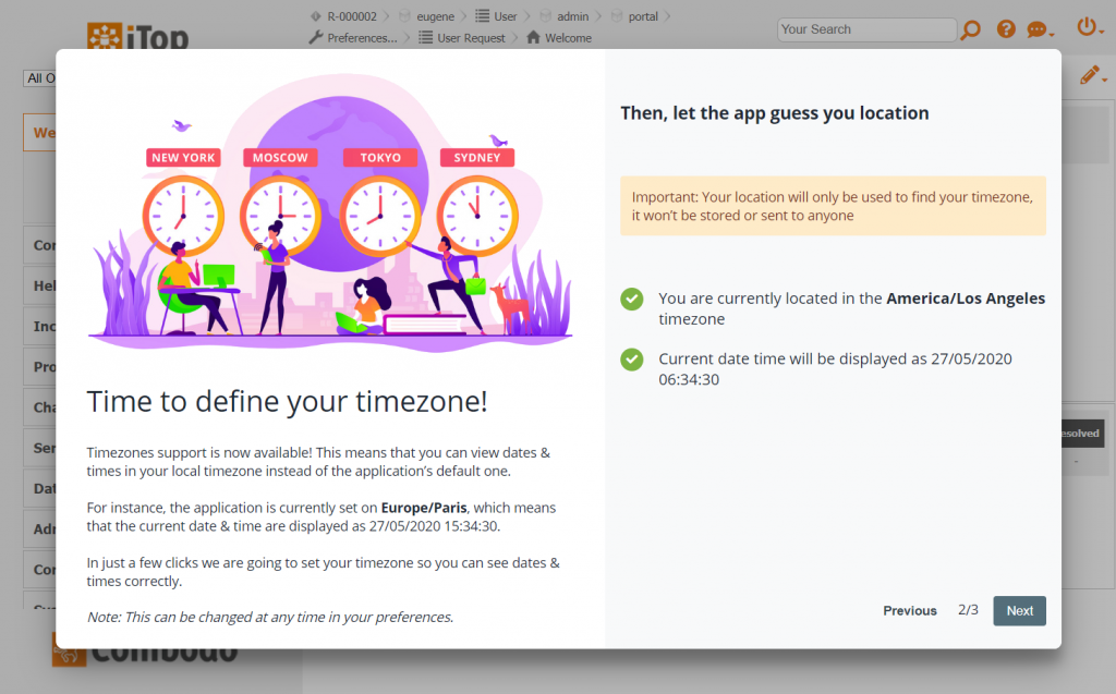 Wizard Step 2 - Either let the app guess your timezone