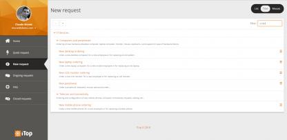 Service catalog filtered